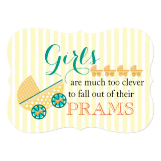 Yellow Clever Girl Pram 13 Cm X 18 Cm Invitation Card