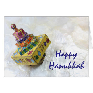 Yellow cloisonne dreidel Hanukkah card