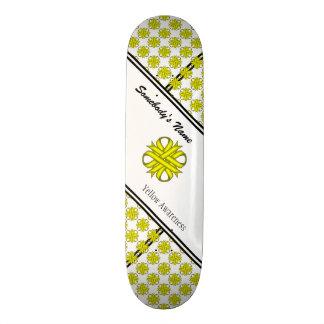 Yellow Clover Ribbon Custom Skateboard