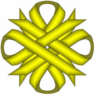 Yellow Clover Ribbon Photo Sculpture Key Ring