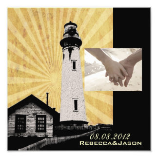 Yellow Coastal Nautical Lighthouse Wedding Photo