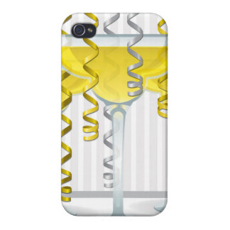 Yellow cocktail and ribbon iPhone 4/4S cases