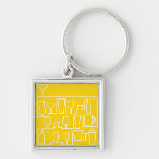 Yellow cocktail party key ring