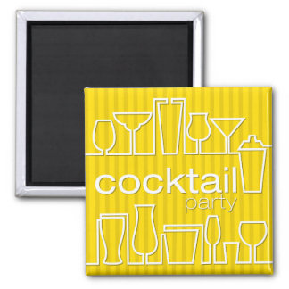 Yellow cocktail party square magnet