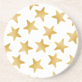 Yellow Color Gradient Stars Seamless Pattern Coaster