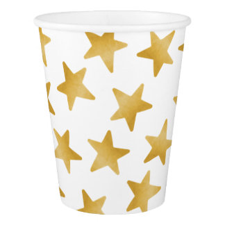 Yellow Color Gradient Stars Seamless Pattern Paper Cup