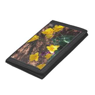 yellow colored tulip type flowers in spring tri-fold wallet