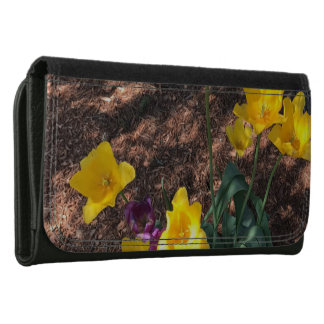 yellow colored tulip type flowers in spring wallet for women
