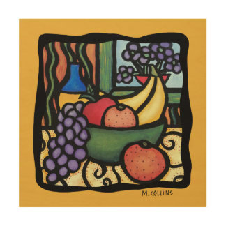 Yellow Colorful Fruit Bowl Kitchen Wood Print