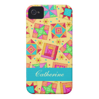 Yellow Colorful Patchwork Quilt Block Custom iPhone 4 Covers