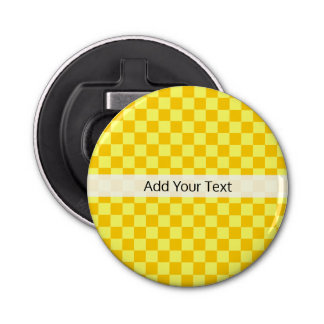 Yellow Combination  Checkerboard by ShirleyTaylor Bottle Opener