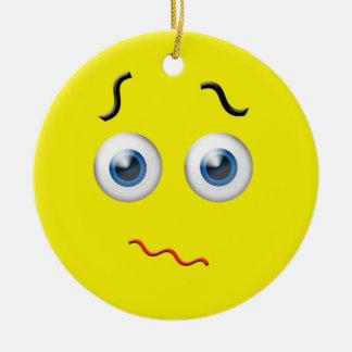 Yellow  Confused Emoji Custom Name Ceramic Ornament