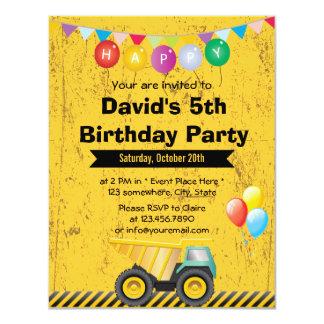 "Yellow Construction Truck Boy Birthday Party 4.25"" X 5.5"" Invitation Card"