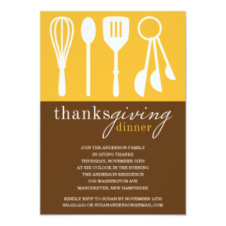 "YELLOW COOKING | THANKSGIVING DINNER INVITE 5"" X 7"" INVITATION CARD"