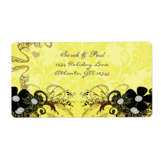 Yellow Copper Black Musical Floral Return Address