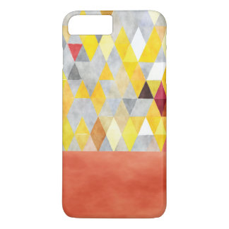 Yellow Coral Grey Boho-Chic Polygon Triangles iPhone 7 Plus Case