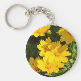 Yellow Coreopsis Basic Round Button Key Ring