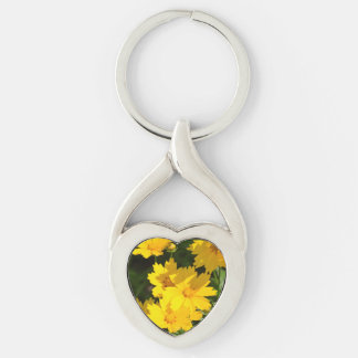 Yellow Coreopsis Silver-Colored Twisted Heart Key Ring
