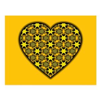 Yellow Cosmic Burst Heart Postcard
