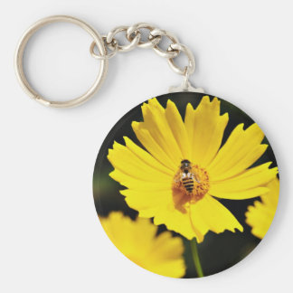Yellow Cosmos Flower and Bee Basic Round Button Key Ring