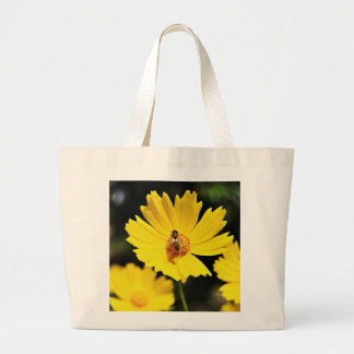 Yellow Cosmos Flower and Bee Large Tote Bag