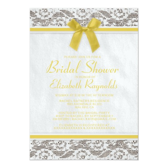 Yellow country lace bridal shower invitations for Yellow bridal shower invitations