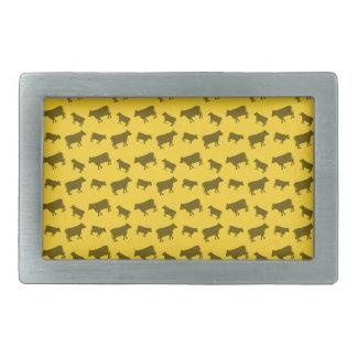 Yellow cow pattern rectangular belt buckles