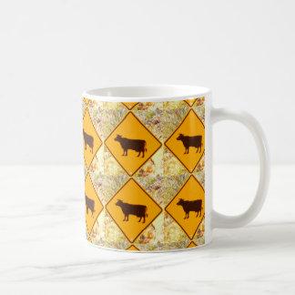 yellow cow sign diamond pattern coffee mug