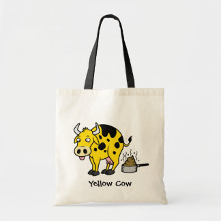 Yellow cow budget tote bag