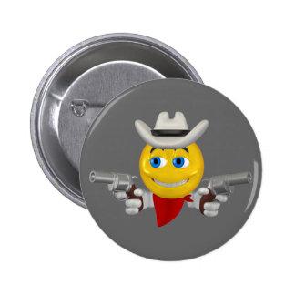 Yellow cowboys smiley face 6 cm round badge