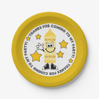 Yellow Crayon Birthday Party Paper Plate