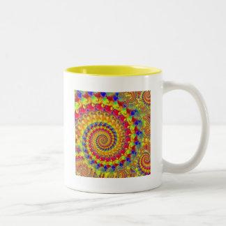 Yellow Crazy Fractal Two-Tone Coffee Mug