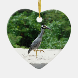 Yellow-crested night heron ceramic ornament