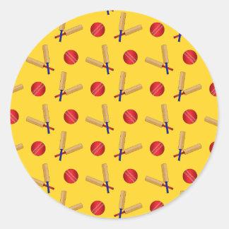 yellow cricket pattern round sticker