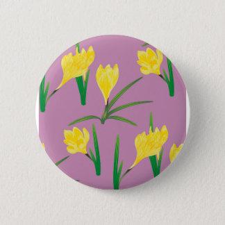 Yellow Crocus Flowers 6 Cm Round Badge
