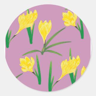 Yellow Crocus Flowers Classic Round Sticker