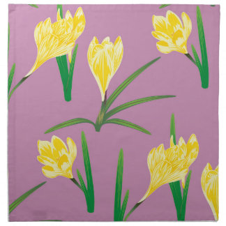 Yellow Crocus Flowers Napkin