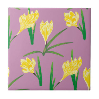 Yellow Crocus Flowers Small Square Tile