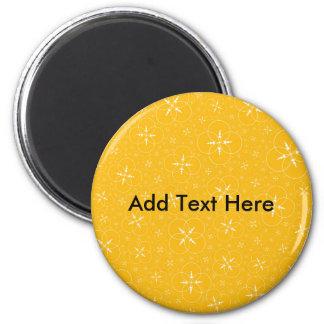 Yellow Crop Circles 6 Cm Round Magnet