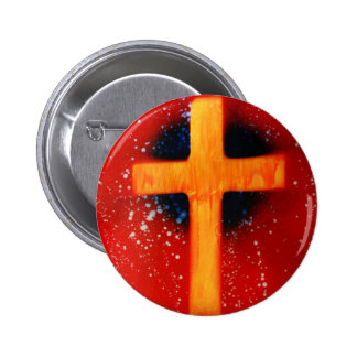 Yellow cross red back religious spraypainting pinback button