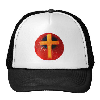 Yellow cross red back religious spraypainting mesh hat