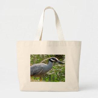 Yellow Crown Night Heron Large Tote Bag
