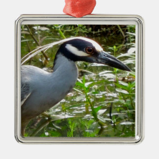 Yellow Crown Night Heron Metal Ornament