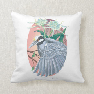 Yellow-Crowned Night Heron and Spider Lilies Cushion