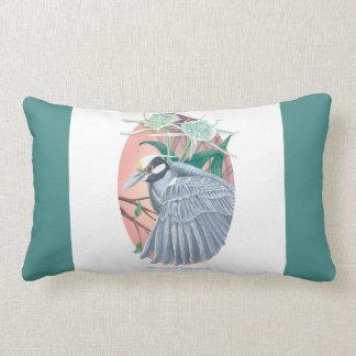 Yellow-Crowned Night Heron and Water Lilies Lumbar Cushion
