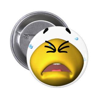 Yellow Crying Smiley 6 Cm Round Badge