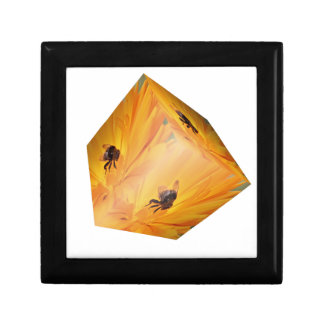 Yellow cube with bee insect and flower gift box