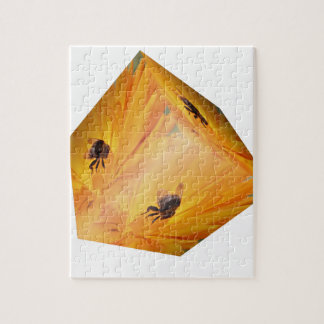 Yellow cube with bee insect and flower jigsaw puzzle