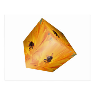 Yellow cube with bee insect and flower postcard