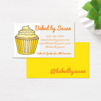 Yellow Cupcake Cake Baked By Bakery Pastry Chef Business Card